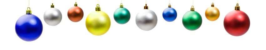 Christmas decoration. Christmas balls isolated on a white background stock photography