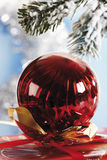 Christmas decoration, Christmas bauble hanging from pine twig Royalty Free Stock Photos
