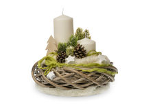 Christmas decoration - christmas composition made from wreath, candles and christmas decorative accessories isolated. Royalty Free Stock Photography