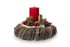 Christmas decoration - christmas composition made from wreath, candles and christmas decorative accessories isolated. Stock Images