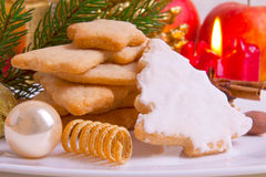 Christmas decoration and Christmas cookies Royalty Free Stock Photo