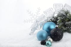 Christmas decoration. With ball ornaments on snow Royalty Free Stock Photography