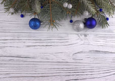 Christmas decoration with Christmas silver and blue balls stars Royalty Free Stock Images