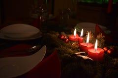 Christmas decoration at a Christmas table stock photography