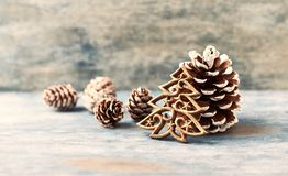 Christmas decoration. Christmas tree. Christmas ornament on rustic wooden background. royalty free stock photography
