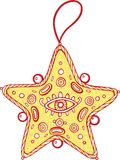 Christmas decoration for christmas tree - golden star. Doodle. Christmas decoration for christmas tree - golden star. Doodle illustration Royalty Free Stock Photography