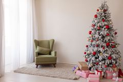 Christmas decoration Christmas tree with presents in white. 1 Royalty Free Stock Image