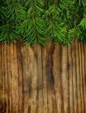 Christmas decoration, Christmas tree on vintage wood Stock Image