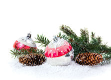 Christmas decoration of Christmas trees and cones Stock Photo