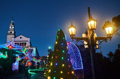 Christmas decoration and church in Monserrate. BOGOTA, COLOMBIA - JANURAY 6, 2015: Some Christmas decoration at the top of the hill Monserrate, with its church Royalty Free Stock Images