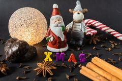 Christmas decoration with cinnamon sticks gingerbread and spices stock images