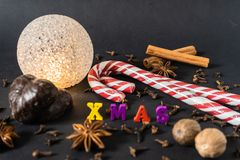 Christmas decoration with cinnamon sticks gingerbread and spices stock photos
