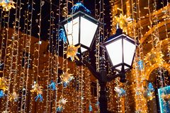 Christmas decoration at city street. royalty free stock image