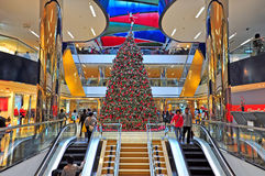 Christmas decoration at cityplaza, hong kong. Interior or cityplaza with christmas decoration and active people at the mall. location : hong kong Stock Image