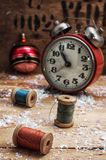 Christmas decoration. Clock and toys in vintage style Royalty Free Stock Photography