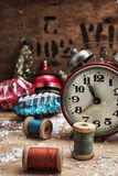 Christmas decoration. Clock and toys in vintage style Stock Photography