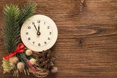 Christmas decoration with clock Royalty Free Stock Images