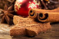 Christmas decoration, close-up, anise, cinnamon, red Christmas ball Stock Images