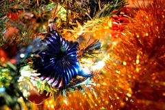 Christmas decoration close up. Christmas tree decoration and lights stock photos