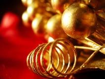 Christmas decoration closeup. Closeup of a golden christmas decoration Stock Photography