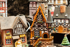 Christmas decoration. Closeup of  colorful christmas decorations. Set of small toy houses Royalty Free Stock Image