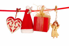 Christmas decoration on clothesline Stock Photos