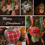 Christmas decoration collage. Christmas collage with beautiful decorations hanging on wooden background Royalty Free Stock Photography
