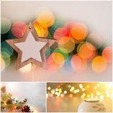 Christmas celebration collage. Christmas decoration collage. Xmas and New Year holiday spirit greetings set Stock Photos