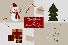 Christmas decoration collection of calligraphic design Royalty Free Stock Images
