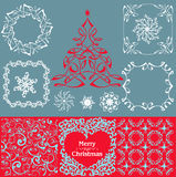 Christmas decoration collection. Ornate blue seamless patterns - all for design Royalty Free Stock Images