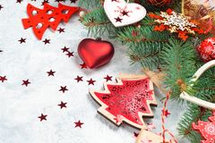 Christmas decoration collection: hearts, branches, Christmas candy, Christmas tree, balls, angel, bell, top view stock photography