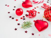 Christmas decoration collection: hearts, branches, Christmas candy, Christmas tree, balls, angel, bell, top view. Christmas decoration collection: hearts stock photos
