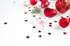 Christmas decoration collection: hearts, branches, Christmas candy, Christmas tree, balls, angel, bell, top view. Christmas decoration collection: hearts stock images