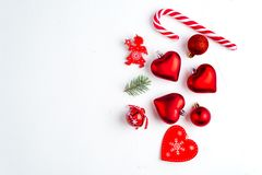 Christmas decoration collection: hearts, branches, Christmas candy, Christmas tree, balls, angel, bell, top view. Christmas decoration collection: hearts royalty free stock photos