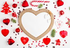 Christmas decoration collection: hearts, branches, Christmas candy, Christmas tree, balls, angel, bell, top view. Christmas decoration collection: hearts stock image