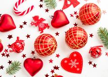 Christmas decoration collection: hearts, branches, Christmas candy, Christmas tree, balls, angel, bell, top view. Christmas decoration collection: hearts royalty free stock photo