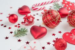 Free Christmas Decoration Collection: Hearts, Branches, Christmas Candy, Christmas Tree, Balls, Angel, Bell, Top View Royalty Free Stock Images - 150991509
