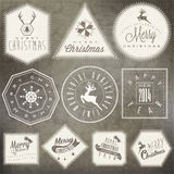 Christmas decoration collection for postcards and other Christmas design. Vintage style christmas typographic and calligraphic symbols for greeting cards design Stock Images