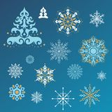 Christmas decoration collection. Set of calligraphic snowflakes for Christmas design Royalty Free Stock Photography