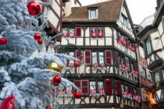 Christmas decoration with in Colmar Stock Photo