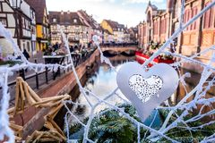 Christmas decoration in Colmar royalty free stock photography