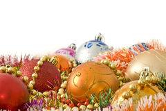 Christmas decoration - colorful baubles and tinsel Stock Photo