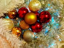 Christmas decoration Colorful ideas ,red blue gold silver balls ,silver garland,christmas light,decoration ,illumination ideas. Blue and gold red Colorful stock photos