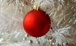 Christmas decoration Colorful ideas ,red silver balls ,silver garland,christmas light,decoration ,illumination ideas. Red Silver Colorful christmas ideas stock photos