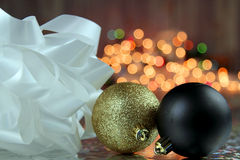 Christmas decoration. With colorful lights in the background with copy space Royalty Free Stock Image
