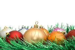 Christmas decoration and colorful tinsel Stock Photography