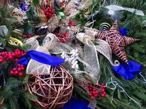 Christmas decoration. Colorful christmas decoration on a wreath Stock Images