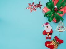 Christmas decoration on colour background . Red and gift box an. D decoration object .top view composition stock image