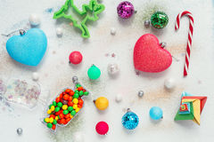 Christmas decoration colour themes: neon rainbow with candy Royalty Free Stock Photos