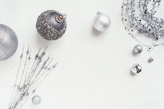 Christmas decoration colour themes: Silver with copyspace Royalty Free Stock Photo